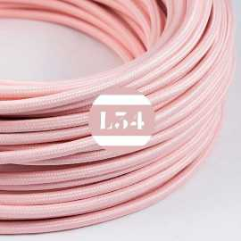 Câble électrique textile rose baby soie