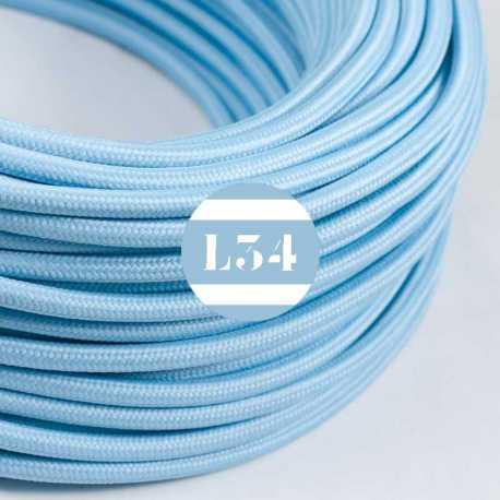 Câble électrique textile bleu azur soie