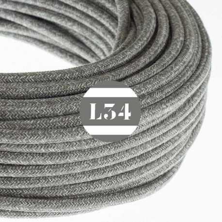 Câble électrique textile gris lin