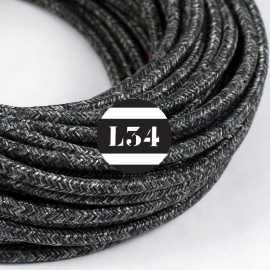Câble électrique textile anthracite lin naturel