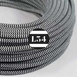 Câble électrique textile ZigZag noir et blanc