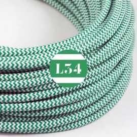 Câble électrique textile ZigZag vert et blanc