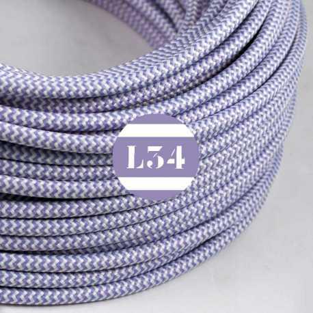 Câble électrique textile ZigZag lilas et blanc