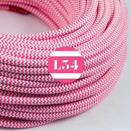 Câble électrique textile ZigZag fuchsia et blanc