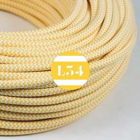 Câble électrique textile ZigZag jaune et blanc