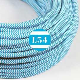Câble électrique textile ZigZag turquoise et blanc