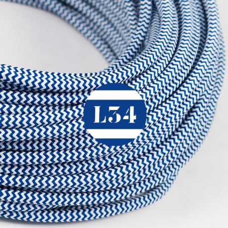 Câble électrique textile ZigZag bleu et blanc