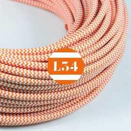 Câble électrique textile ZigZag orange et blanc
