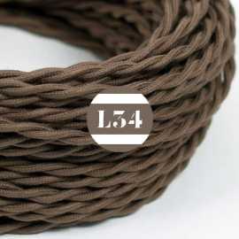 Câble électrique textile torsadé marron coton
