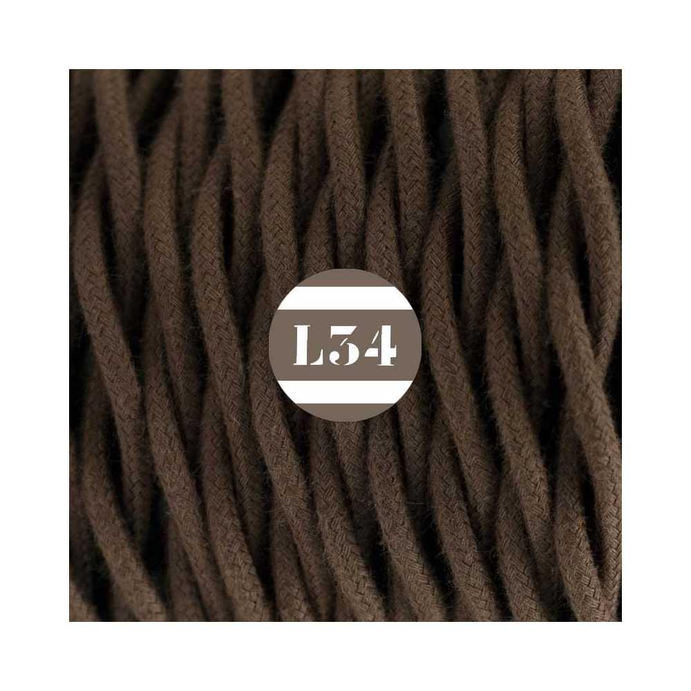 Fil lectrique tissu torsad marron coton - Fil electrique marron ...