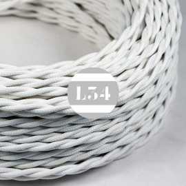 Câble électrique textile torsadé blanc soie