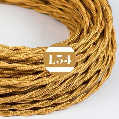 Câble électrique textile torsadé or soie