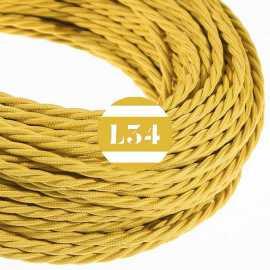 Câble électrique textile torsadé moutarde soie
