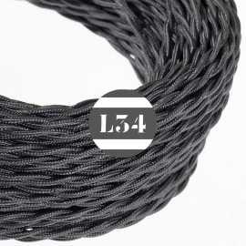 Câble électrique textile torsadé gris foncé soie