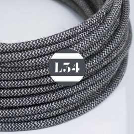 Câble électrique textile ZigZag anthracite et lin