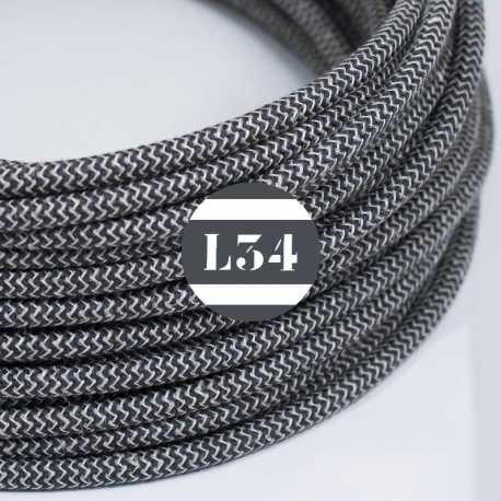 cordon électrique textile ZigZag anthracite et lin