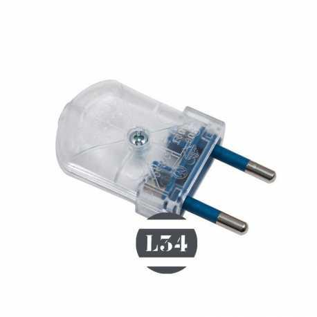 Fiche électrique mâle transparente 10A - 1