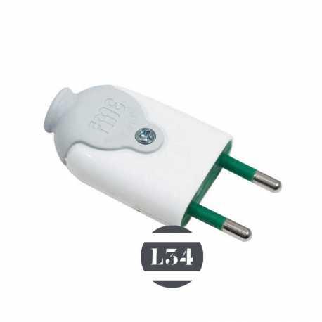Fiche électrique mâle blanche 10A - 1